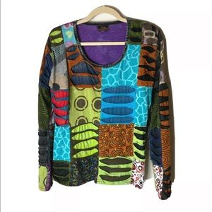 Rising International Women's Top Size Large Colorful Long Sleeves Patchwork